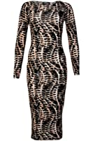 77E Womens Beige Snake Printed Ladies Long Sleeved Bodycon Midi Dress