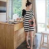 マタニティ ワンピース レディース 夏 ファッション ストライプ ボーダー柄 リボン (白×黒)