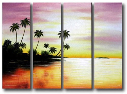 Sangu 100% Hand Painted Wood Framed Lavender Sunset Landscapes Paintings For Living Room Modern Oil Paintings Gift on Canvas 4-piece Art Wall Decor