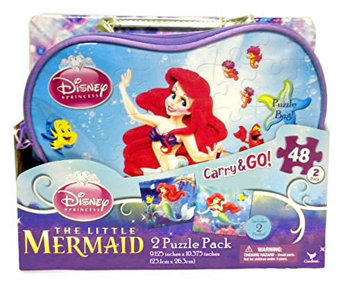 Disney Princess Little Mermaid Carry and Go Bag with 2 Puzzles - 1