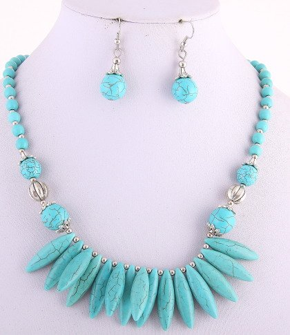 Turquoise Stone Necklaces & Hook Earrings Set/Lobster Claw Clasp /NL: 18