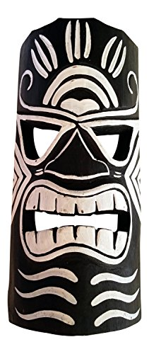 Wooden Tiki Mask, Black and White, 12