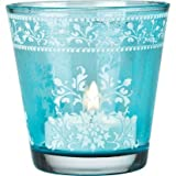 Turquoise Blue Hand Painted Glass Candle Holder (flower Design)