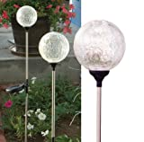 "Color changing Crackle-glass Ball Solar lights - a set of 3 Glass Balls of 4"" dia."