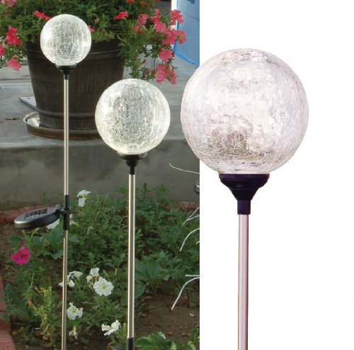 Color changing Crackle-glass Ball Solar lights - a set of 3 Glass Balls of 4