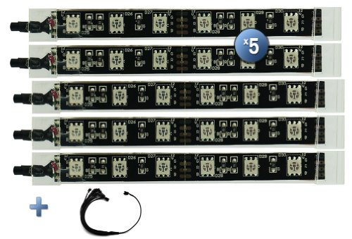 "Lexinmoto Expansion 5Pcs Ultra-Bright & Super-Slim 4.5"" Million Color Led Strips With 30Pcs Rgb Leds & 5 Connectors Power Harness"