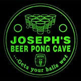 4x ccqr0009-g JOSEPH'S Beer Pong Cave Game Bar Beer 3D Drink Coasters