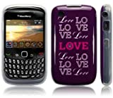 BLACKBERRY 8520 / 9300 CURVE PURPLE LOVE TYPOGRAPHY IMAGE TPU GEL COVER CASE SKIN SHELL - PART OF THE CONSUMER STORE® ACCESSORIES RANGE
