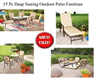 Hot Sale 15 pc Outdoor Patio Furniture Sofa Chat Table Set Dining & Bistro Set Deep Seating Tan