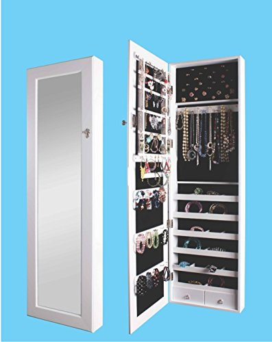 BTEXPERT® Premium Wooden Jewelry Armoire Cabinet Wall mount Over the Door Hanger Locking Organizer Storage box case Cheval Mirror Store Rings, Necklaces, Key Lock for Added Safety, Security- White Veneer Classic 2 Door Cabinet