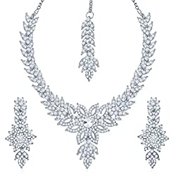 Sukkhi Bewitching Rhodium Plated Australian Diamond Stone Studded Necklace Set for Women