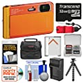 Sony Cyber-Shot DSC-TX30 Shock & Waterproof Digital Camera (Orange) with 32GB Card + Case + Battery & Charger + Flex Tripod + Kit
