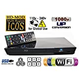 SONY Wi-Fi Upgraded Multi Region Zone Free Blu Ray DVD Player - PAL/NTSC - Wi-Fi - 1 USB, 1 HDMI, 1 COAX, 1 ETHERNET Connections - 6 Feet HDMI Cable Included (Color: Black)