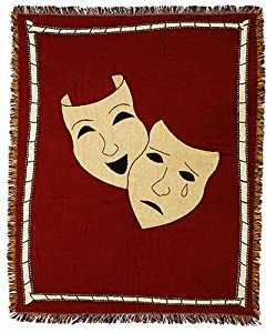 Comedy/Tragedy Masks Theatrical Throw Blanket