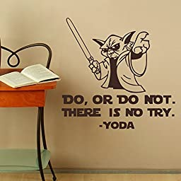 Nursery Room Wall Decal Vinyl Art Quote Playroom wall Sticker Do Or Do Not, There is Not Try - YODA (Black,xs)