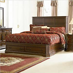 King Size Platform Bed Traditional Style Deep Brown Finish