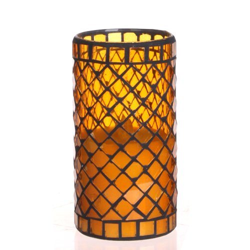 Dfl 3*6 Inch Yellow Diamond-Shaped Mosaic Glass With Flameless Led Candle With Timer,Work With 2 C Battery