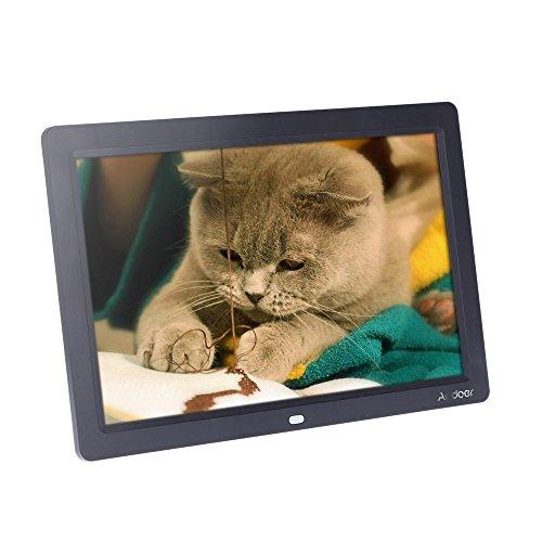 Andoer® 12 '' HD TFT-LCD 1280 * 800 Vista Completa Digital Photo Marco Reloj Despertador Reproductor de MP3 MP4 y Películas con Escritorio Remoto (Black)