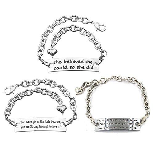 mikini Set di 3braccialetti da donna in acciaio inox placcato argento con messaggio motivazionale inspirational parole braccialetti #1 Pack of 3