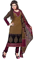 Vidhya LifeStyle Women's Cotton Unstitched Dress Material(Brown)