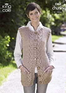 Knitting Patterns Ladies Waistcoats : King Cole Ladies Waistcoat & Slipover Chunky Knitting Pattern 3254: Amazo...