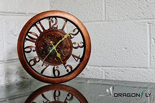 "11"" Royal Bronze Knight Emblem Simulated Wood Wall Clock, Quartz, ABS Texture, Antiquity European Style (Bronze)"