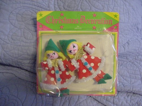 VINTAGE ARTCO CHRISTMAS DECORATIONS FELT ELVES