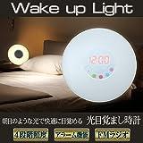 WAKE UP LIGHT/ウェイクアップライト 光目覚まし時計 FF-5553 目覚ましライト デザインライト ベットサイドランプ アラーム時計 USB電源 乾電池 FMラジオ 生体リズム ワンタッチライト オートカラーチェンジ 国内保証6ヵ月