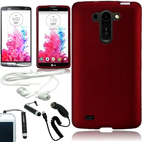 [Arena] Full Red Rubberized Rigid Cover Fitted Snap On Hard Case For Lg G Vista Vs880 + Free Arena Accessory Kit