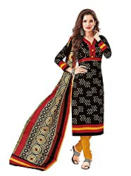 Taos Brand cotton dress materials for women womens dress materials cotton salwar suit New Arrival latest 2016 womens party wear Unstitched dress materials for women (1425 summer__black and multicolured_freesize