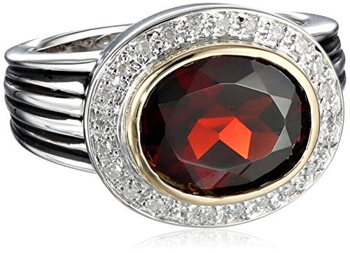 S&G Sterling Silver and 14k Yellow Gold Oval Garnet with Diamond-Accent Ring (0.12 cttw, I-J Color, I3 Clarity), Size 6