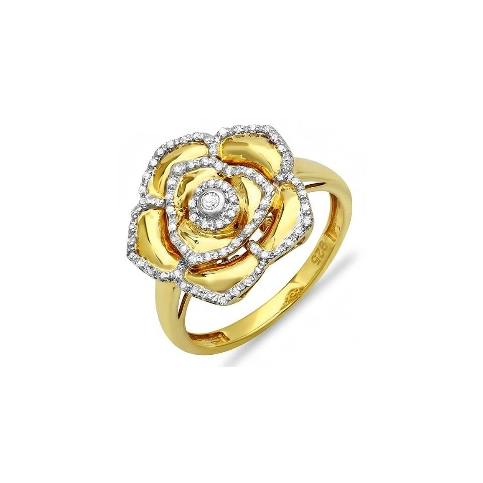 0.25 Carat (ctw) 18k Yellow Gold Plated Sterling Silver Round Diamond Ladies Cocktail Right Hand Flower Ring 1/4 CT (Size 7)