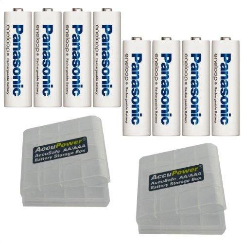 Panasonic BK-3MCC_AP Eneloop Plus AA Mignon LR6 - batterie AAA Micro LR03, incl. 2 cajas pour batterie AccuPower (8 uds.)