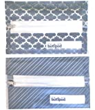 Buti-pods Wipes Cases **All NEW with Prints!** Refillable Zippered Slim Travel Wipes Holder - Flexible & Soft Dispenser with Center Zipper (Each 2-pack Comes with One of Each Print - Grey Prints)