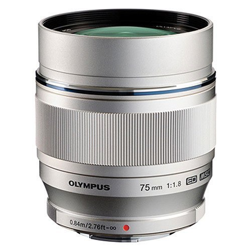 Olympus M.Zuiko Digital ED 75mm f/1.8 Lens, Silver (Micro Four Thirds Mount)