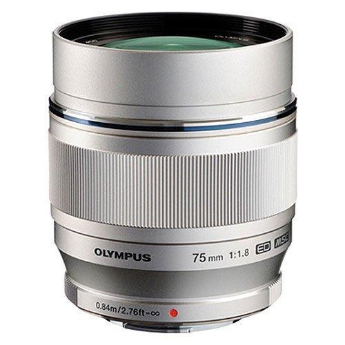 Olympus M.Zuiko Digital ED 75mm f/1.8 Lens, Silver (Micro Four Thirds Mount)