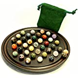 Mini Marble Solitaire Board with Semi-precious Stones