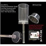 """Giarraffa Co. Brand. Push Pop Containers Tm 100 Count with Screw in Stick and Base Includes Tall 1"""" Flat Top Lids Plus 25 Square Individual Base Stands and (1) 12 Hole Paperboard Stand"""