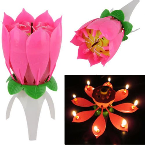 Magical Flower Happy Birthday Blossom Lotus Musical Candle R