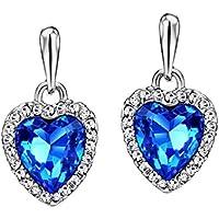 Swarovski Blue Austria Crystal Rhinestone Platinum Plated Heart Drop Earrings for Women by Ananth Jewels