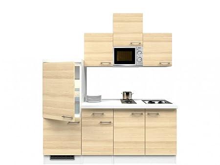 Singlekuche Akazie Weiß 210 cm mit Kochmulde & Mikrowelle - Arezzo