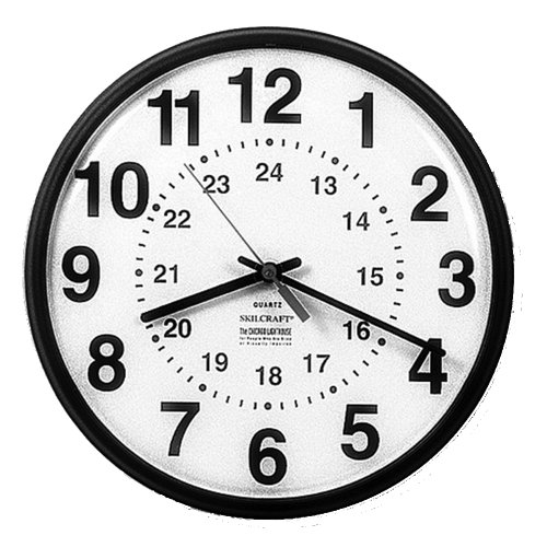Skilcraft 6645-01-342-8199 Plastic 12/24 Hour Slimline Wall Clock With White Face, 12-3/4-Inch Diameter, Brown