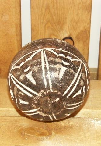 DECORATIVE WOOD BALL Etched Whitewash (078742229416)