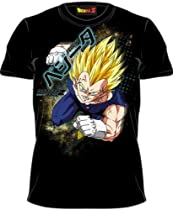 Dragonball Z Flying Vegeta Charge Black Adult Tee T-Shirt