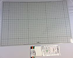 Battle Grid Game Mat, Dry Erase, Gray, 24 X 36 with 3 Markers and Eraser- Double-Sided, 1 squares