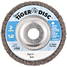 Weiler Tiger Abrasive Flap Disc, Type 29, Round Hole, Aluminum Backing, Zirconia Alumina