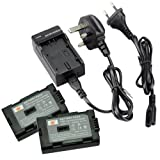DSTE 2pcs CGR-D08S / CGR-D120 Replacement Li-ion Battery + Charger DC60U for Panasonic Cameras
