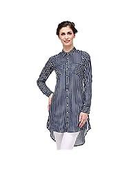 Sia Fashion Blue Retro Stripe Kurta Shirt For Women