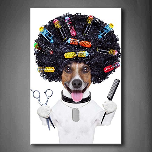 Happy Hairdresser Dog With Curlers Wall Art Painting The Picture Print On Canvas Animal Pictures For Home Decor Decoration Gift (Stretched By Wooden Frame,Ready To Hang)