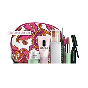 Clinique Fall 2013 Gift Set with 7 Daily Essentials: Repairwear Laser Focus Wrinkle Correcting Eye Cream, Rinse Off Foaming Cleanser, High Impact Mascara, All About Shadow Duo, Quickliner for Eyes Intense, Long Last Lipstick, Cosmetic Bag from Clinique